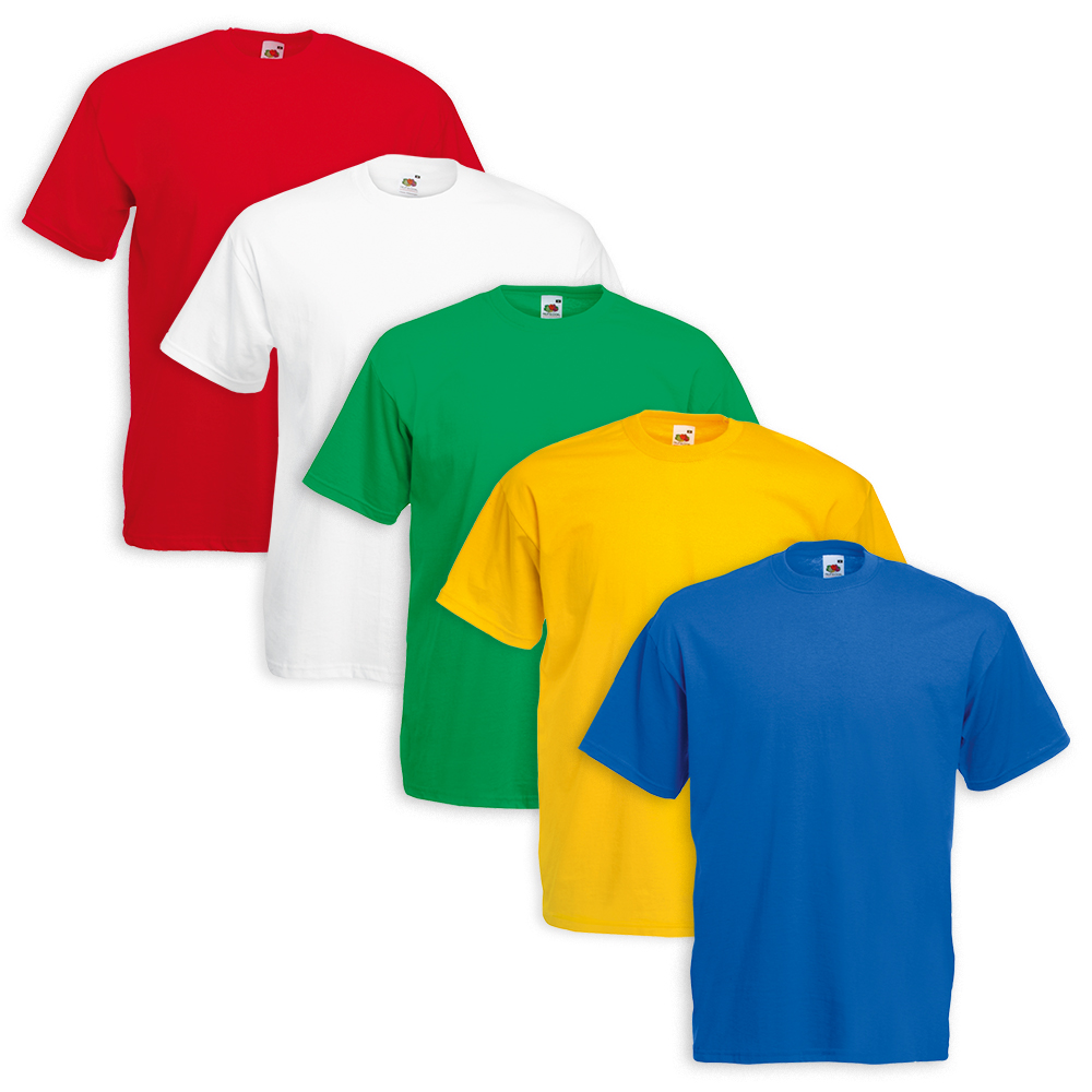 Set-5-Pezzi-T-SHIRT-FRUIT-OF-THE-LOOM-100-Cotone-9-Colori-DD