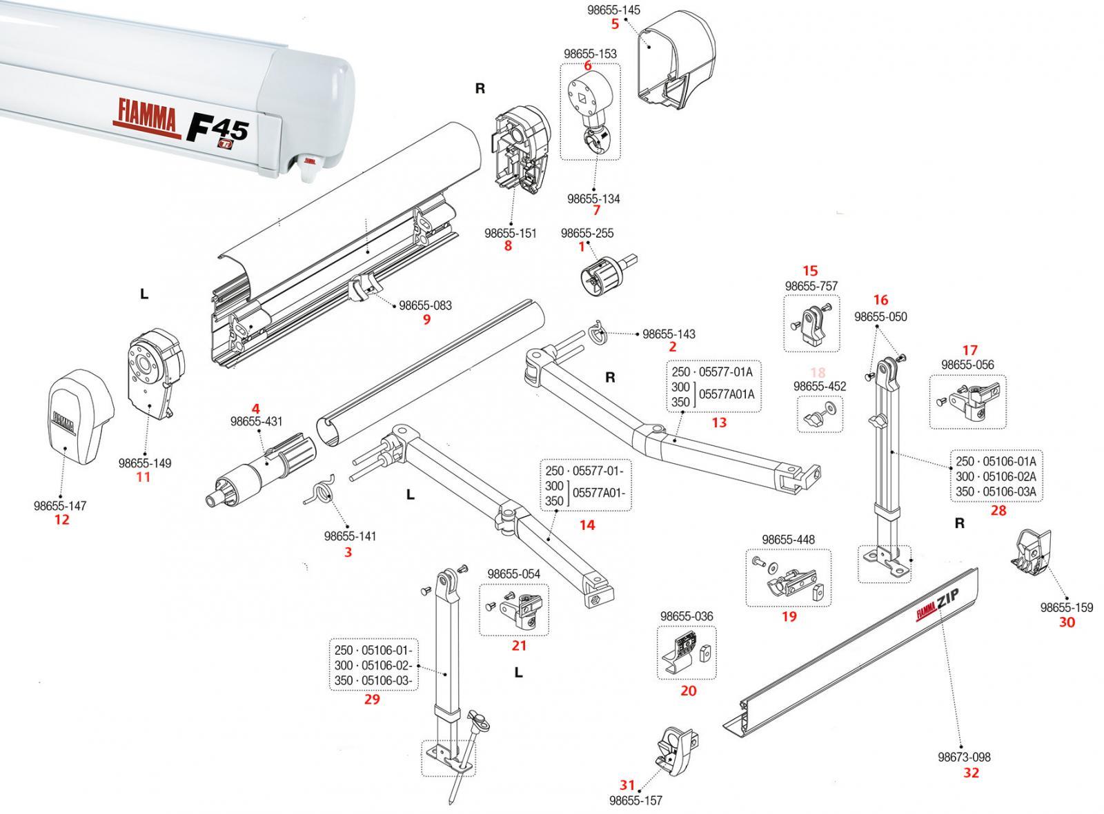 Kit asola arganello Fiamma Awning F45i /& F45i L