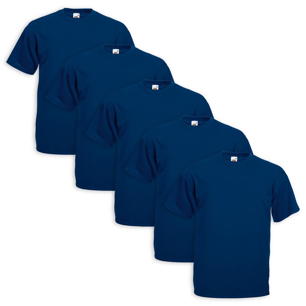 Set-5-T-Shirt-FRUIT-OF-THE-LOOM-Cotone-Original-Vari-Colori